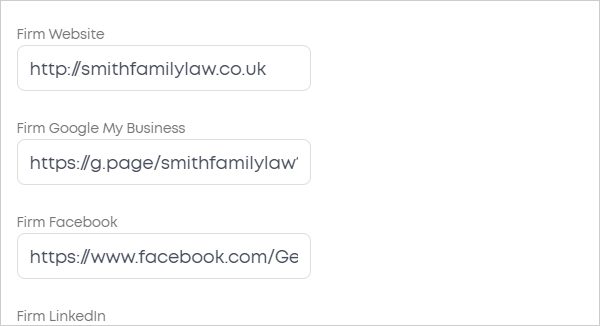 LawTap Firm Profile - Links tab options