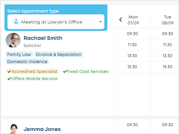 LawTap preview lawyer sort order in firm profile