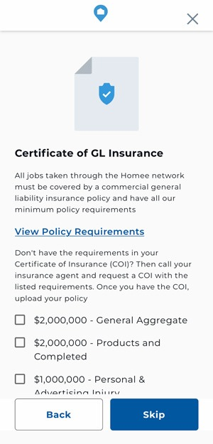Upload Certificate of Insurance (COI)