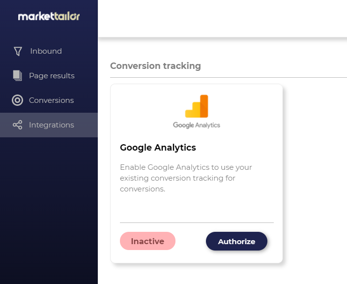 Google Analytics in Integrations tab