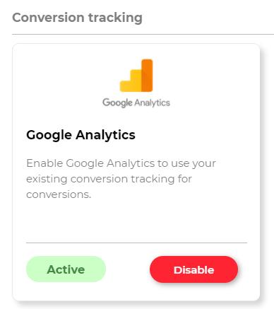 Google Analytics integration active