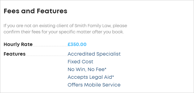 LawTap My Profile - Your Practice preview options in Fees and Features section of profile