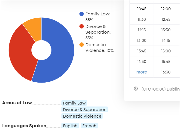 LawTap My Profile - Your Areas of Law preview in About section of profile