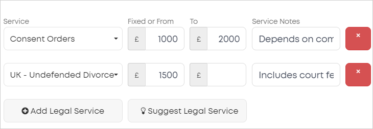 LawTap My Profile - Your Services options
