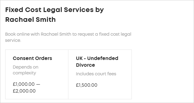 LawTap My Profile - Your Services preview in Fixed Cost Legal Services section of profile