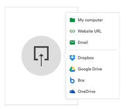 File dropper icon showing the file location options