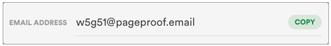 Copy the unique email address