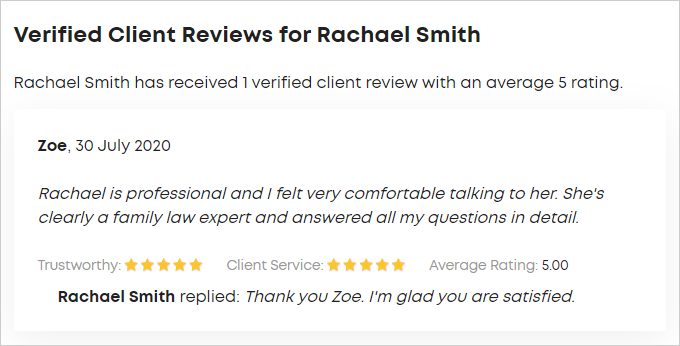 Client reviews in Verified Client Reviews section of lawyer profile