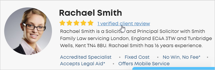 Client reviews in lawyer profile header