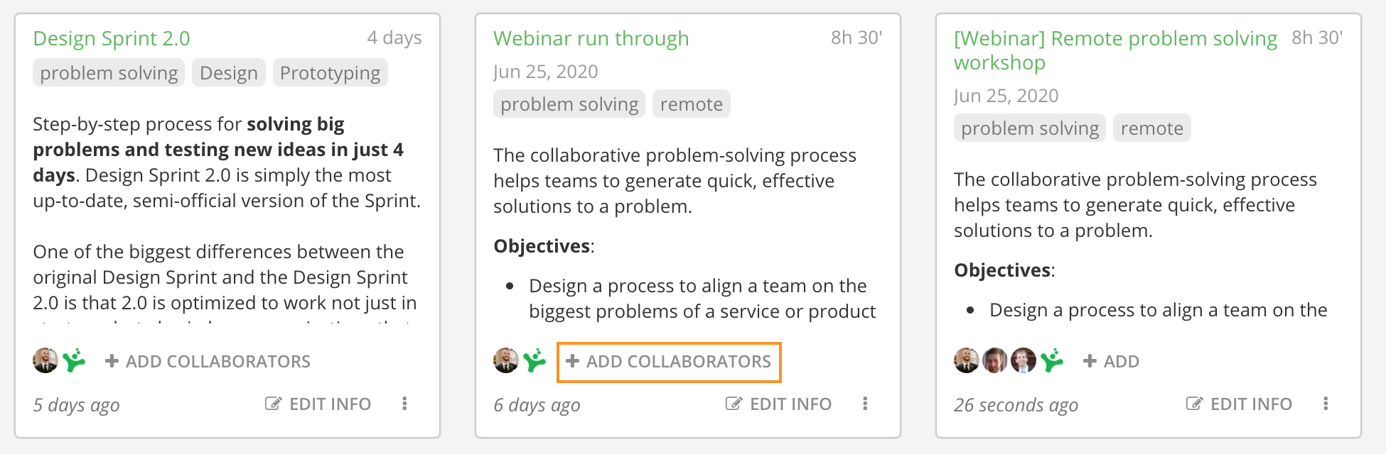 Adding a collaborator directly from your workspace
