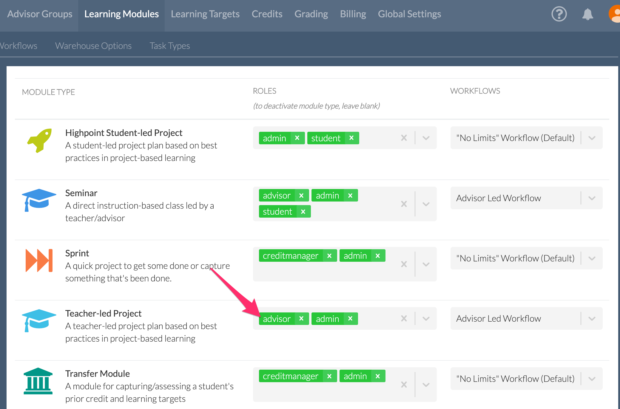 Admin > 'Learning Modules' > 'Modules Options' page