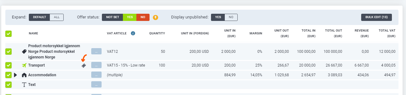Screenshot of Qondor Offer admin with ticket icon and products