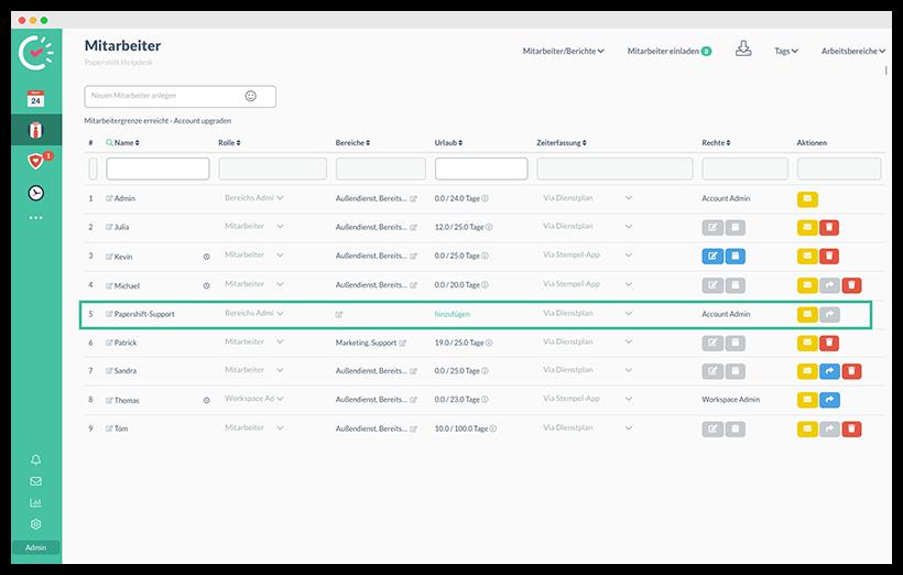 Papershift-Support-Nutzer im Account