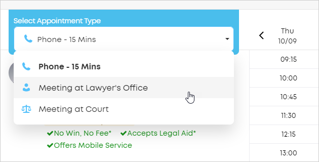 LawTap Select Appointment Type pick list