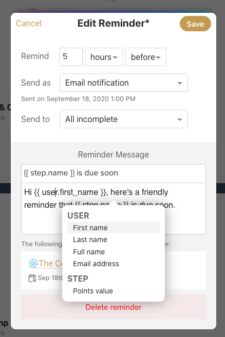 Open Reminder Message with the Variable Selector open in the message area.