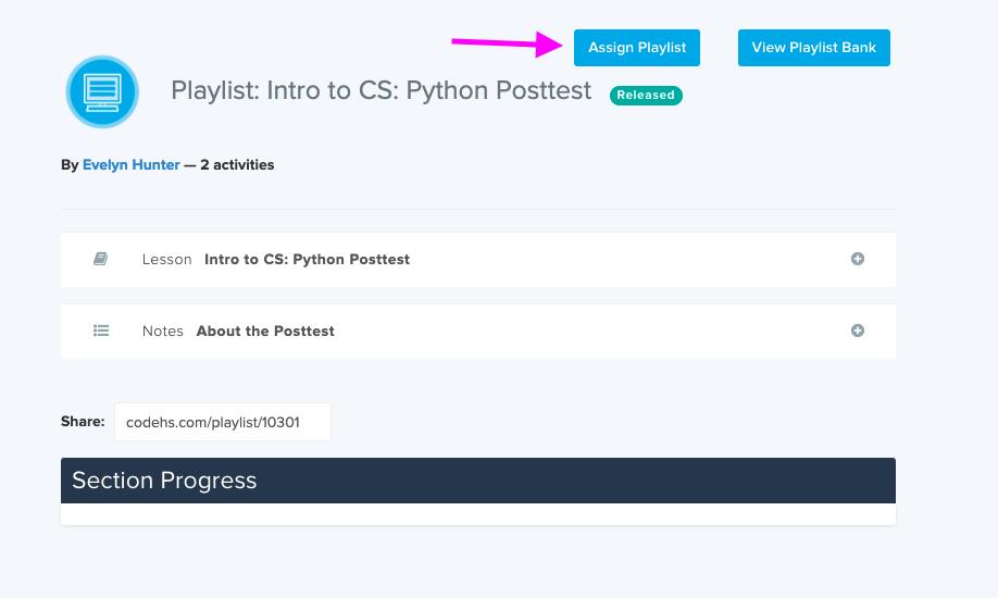 Screenshot showing the Assign Playlist button