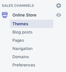 Selecting themes in Shopify