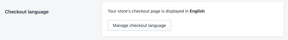 Shopify checkout language