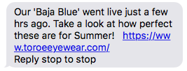 Screenshot of product launch text message
