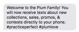 Screenshot of text message from Plum