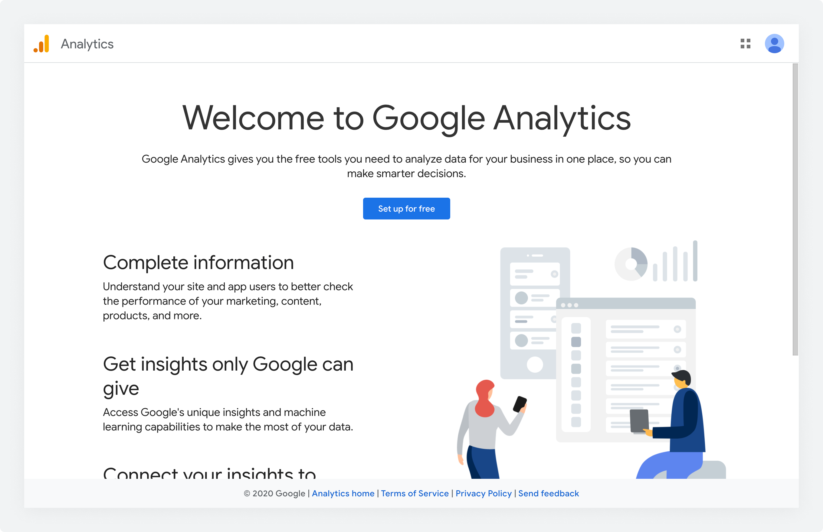 The Google Analytics home page