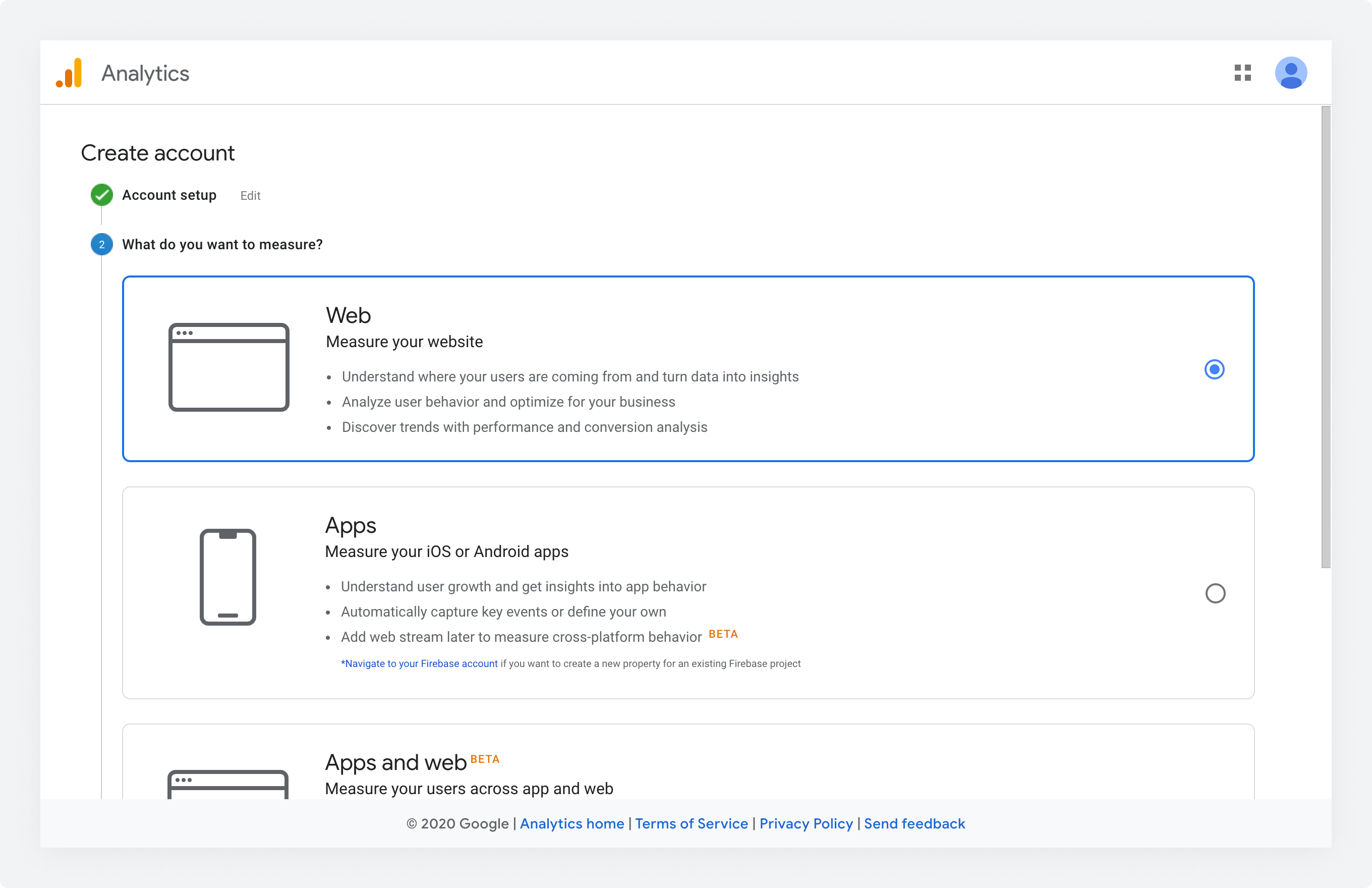 The What do you want to measure screen in Google Analytics setup