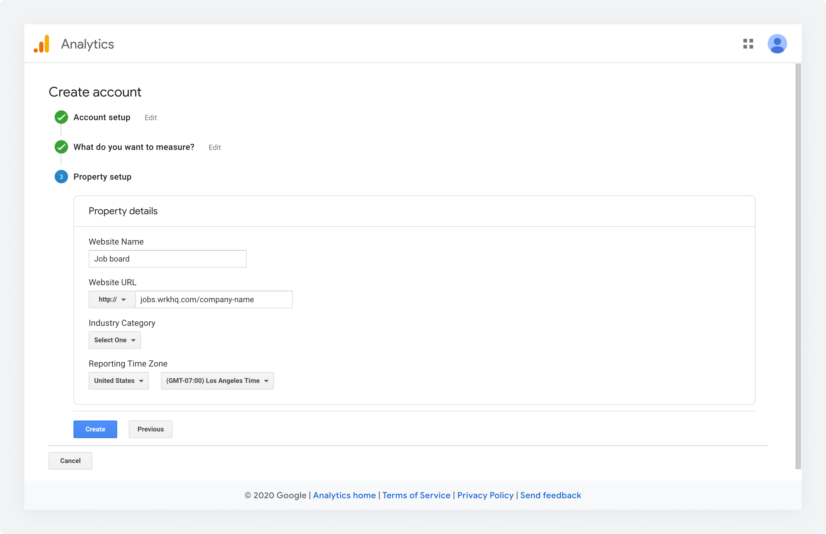 The Property Setup form in Google Analytics