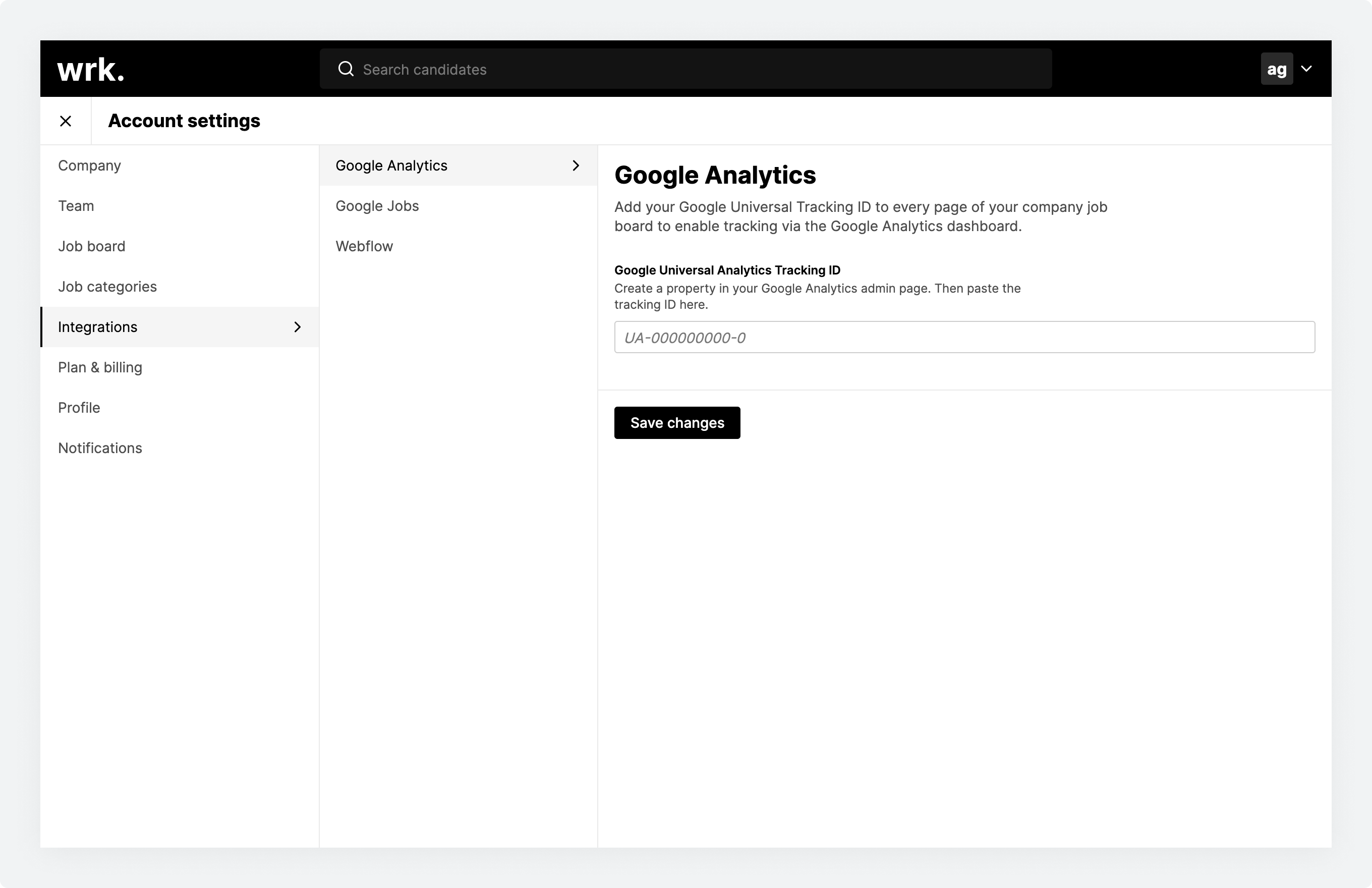 The Google Analytics configuration screen in Wrk
