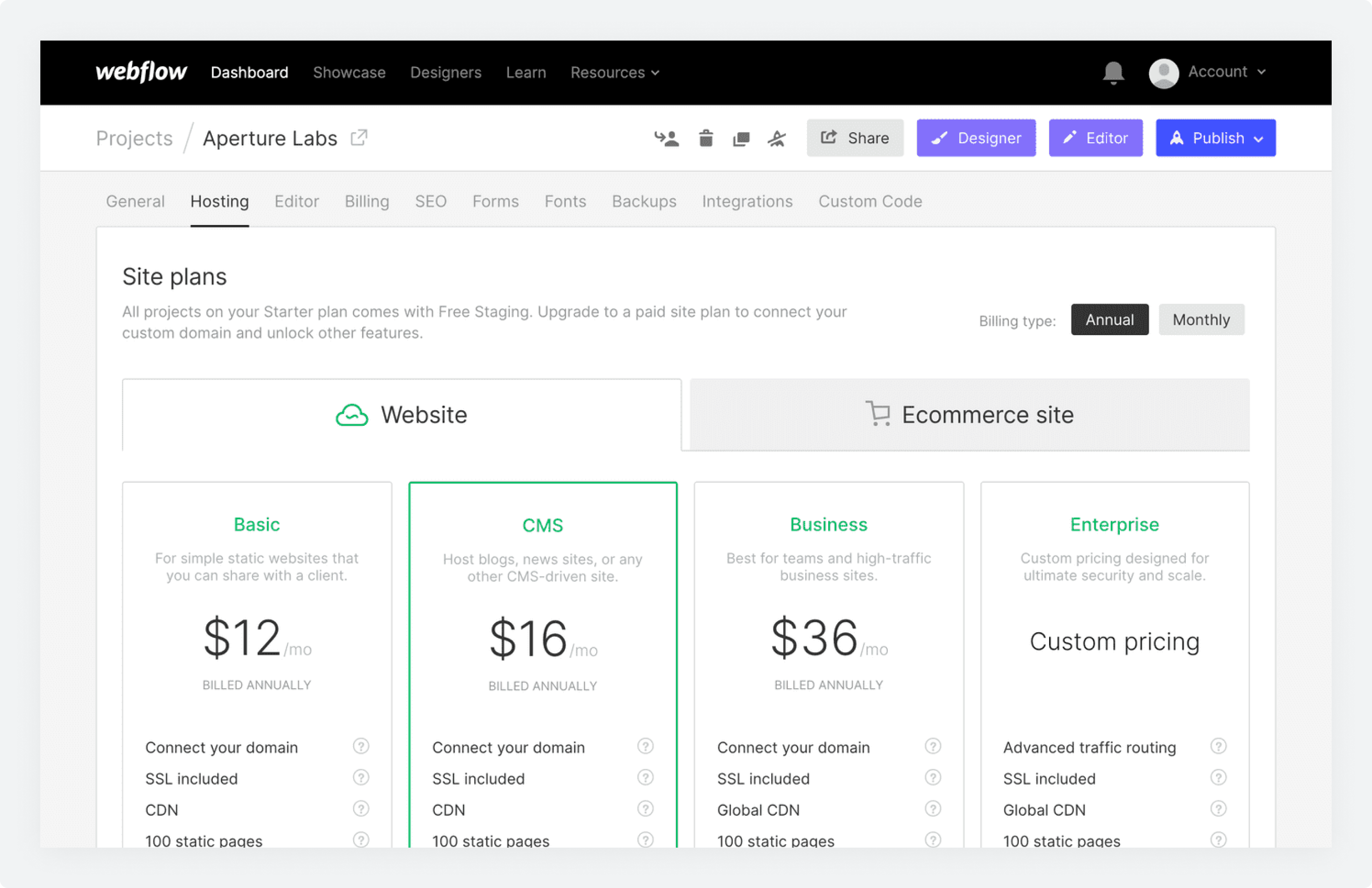 The Site plans pricing screen in Webflow