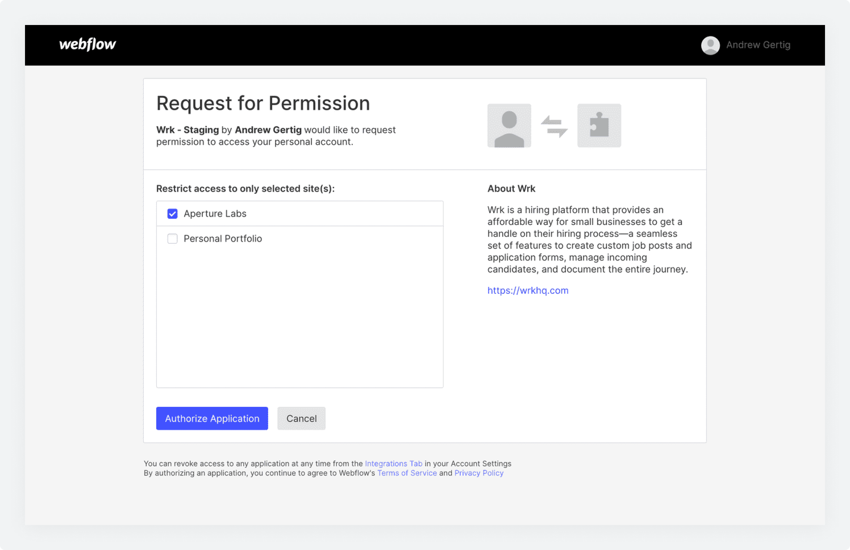 The Request for Permission screen in Webflow