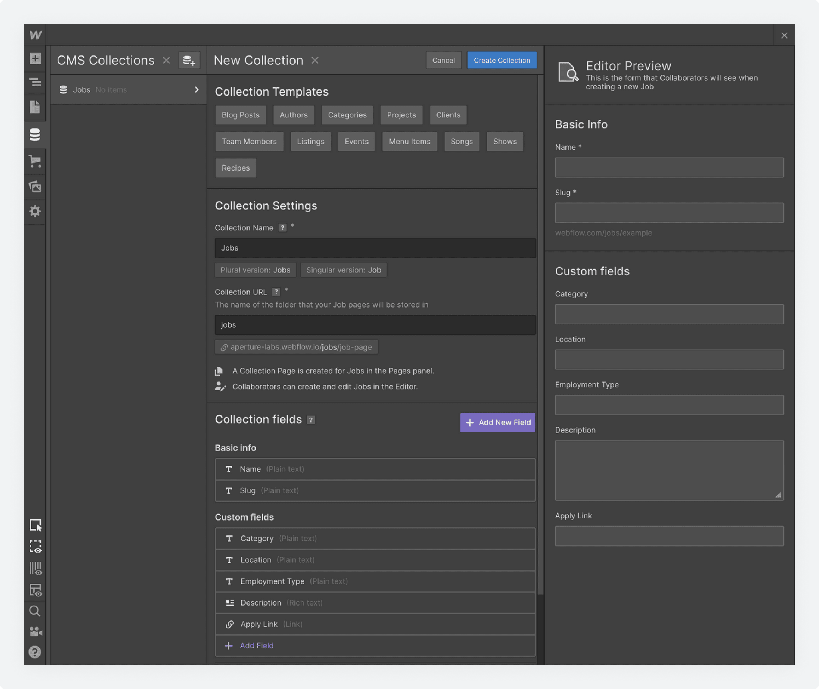 The New Collection screen in Webflow's CMS Collections page