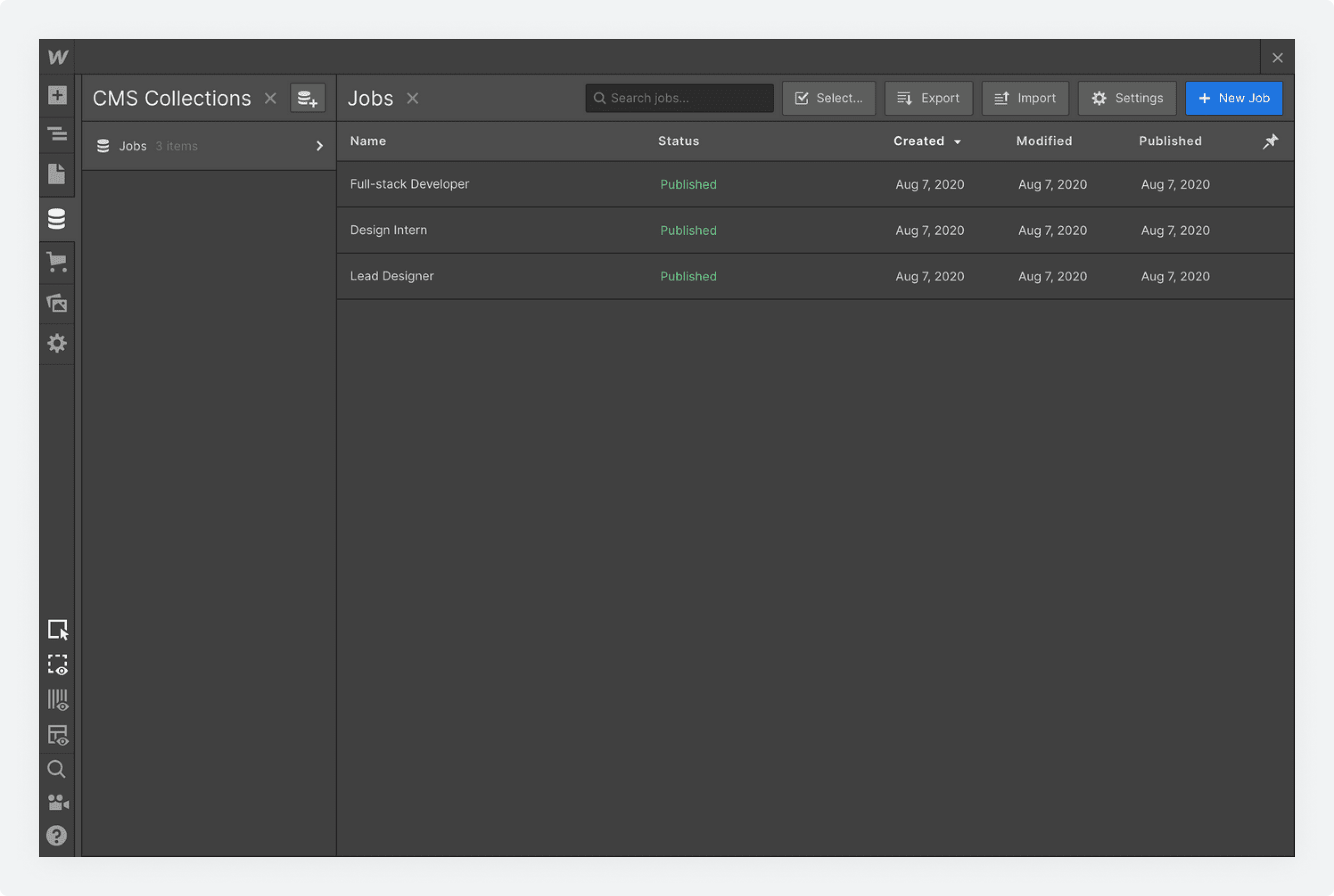 A populated collection in Webflow's CMS Collections screen