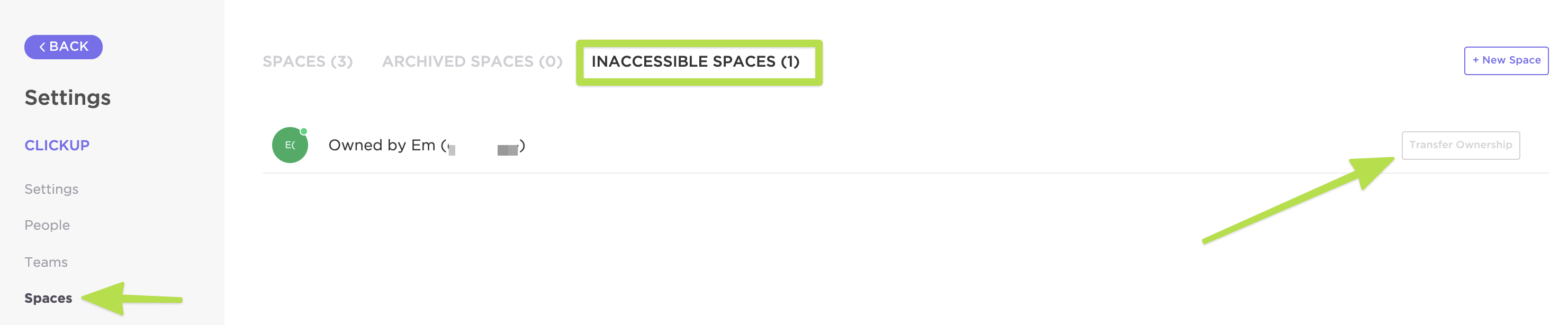 How to view inaccessible spaces in the Settings of your Workspace