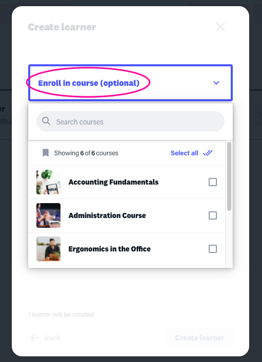 Online training platform enrollment settings