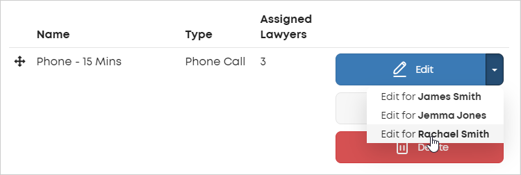 LawTap Edit action for individual lawyers