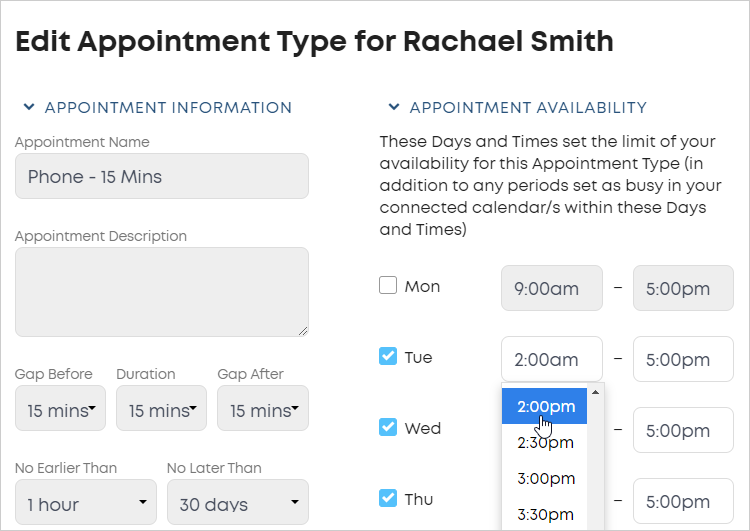 LawTap APPOINTMENT AVAILABILITY section