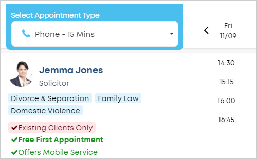 LawTap appointment features preview in law firm profile