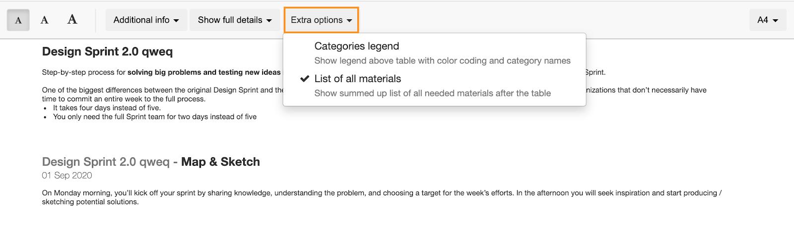 Color coding legend