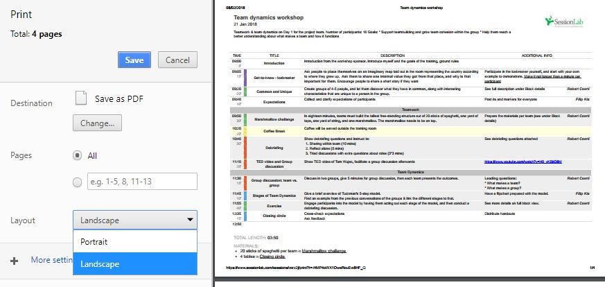 Orientation of the PDF printout