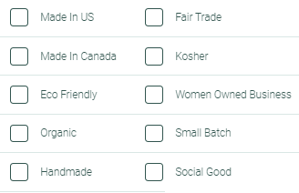 Made is US Canada Eco friendly organic hadnmade fair trade kosher women owned small batch social good
