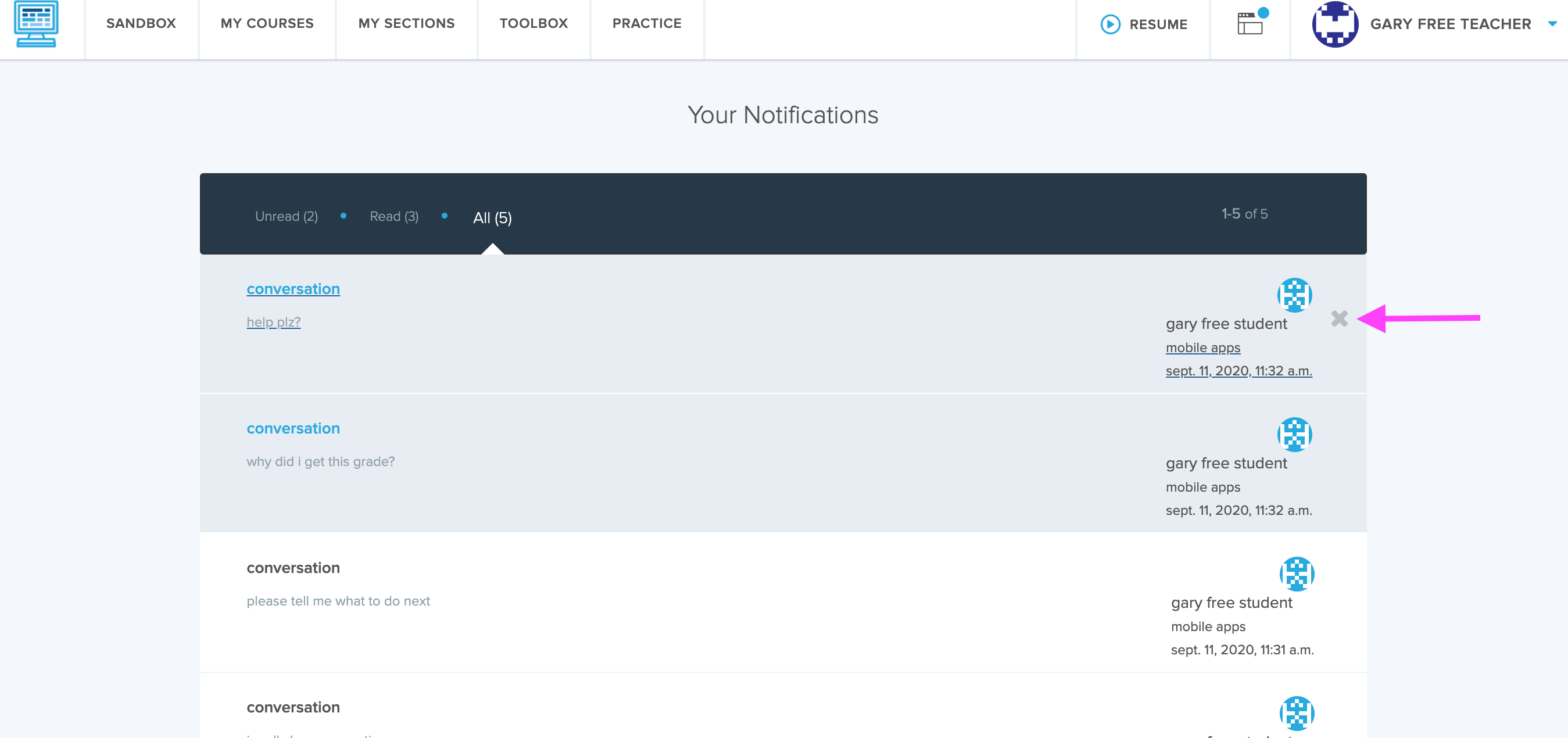 Screenshot of the Notifications page highlighting the X where you can mark a message as read