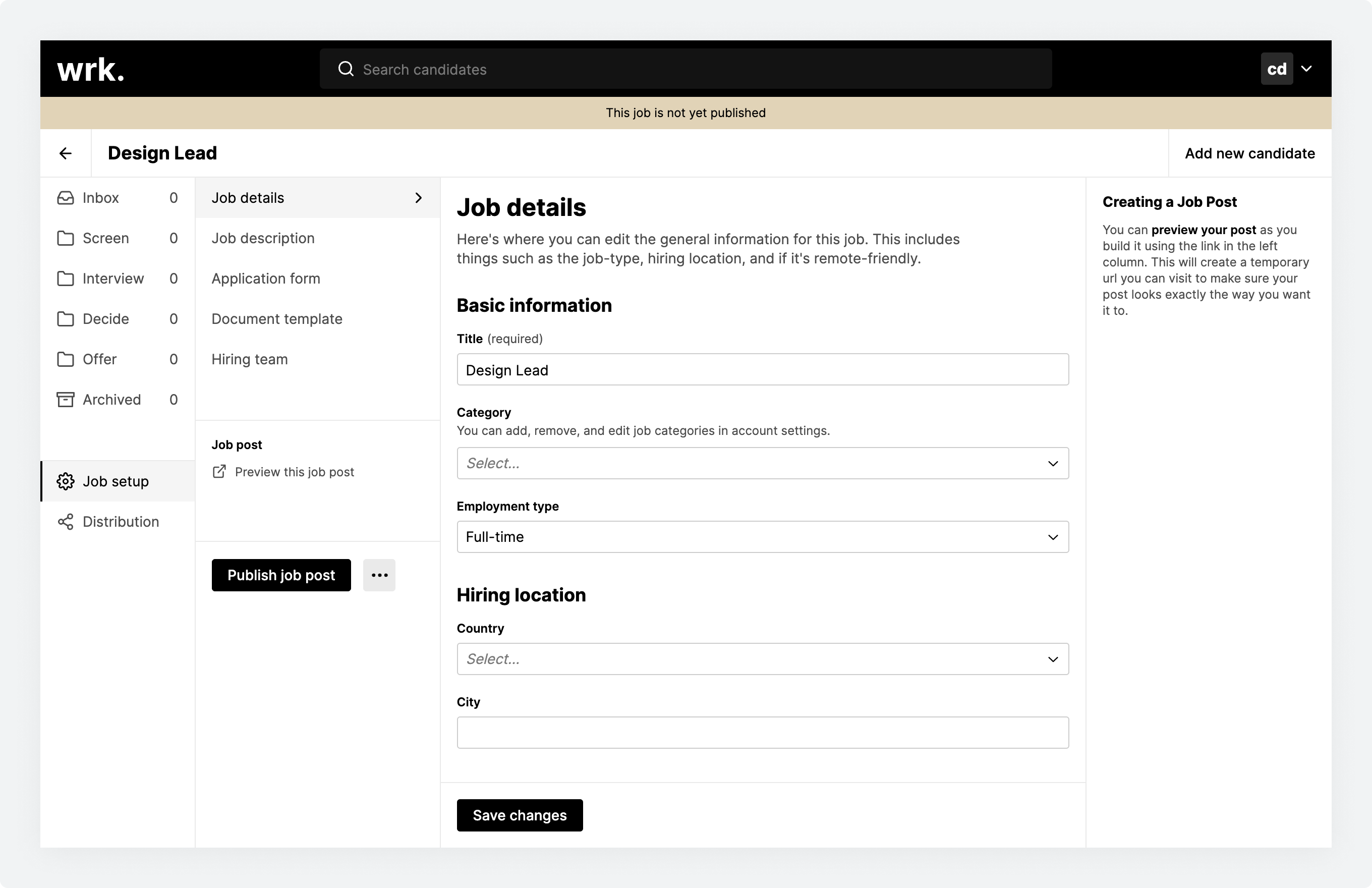The Job details screen within Wrk's Job setup section