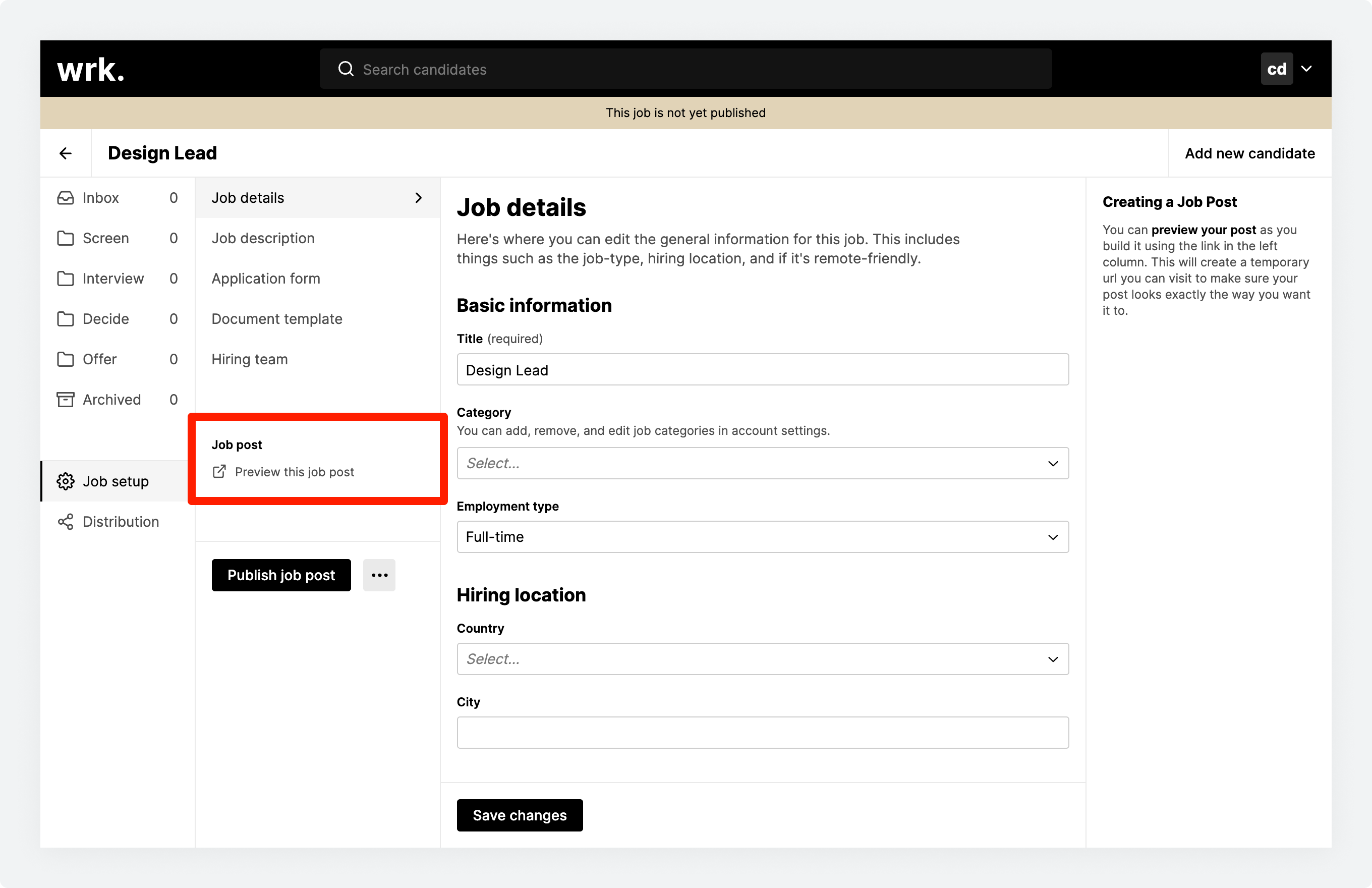 The Job setup section in Wrk with a highlighted Preview this job post link
