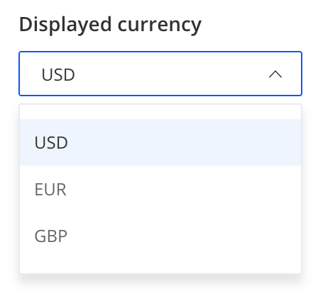 Displayed currency selection