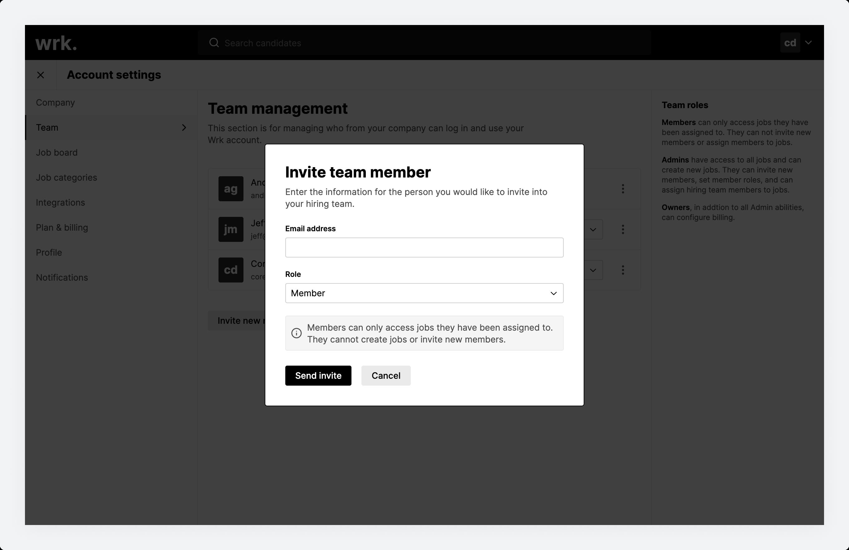 The Invite team member modal in Wrk