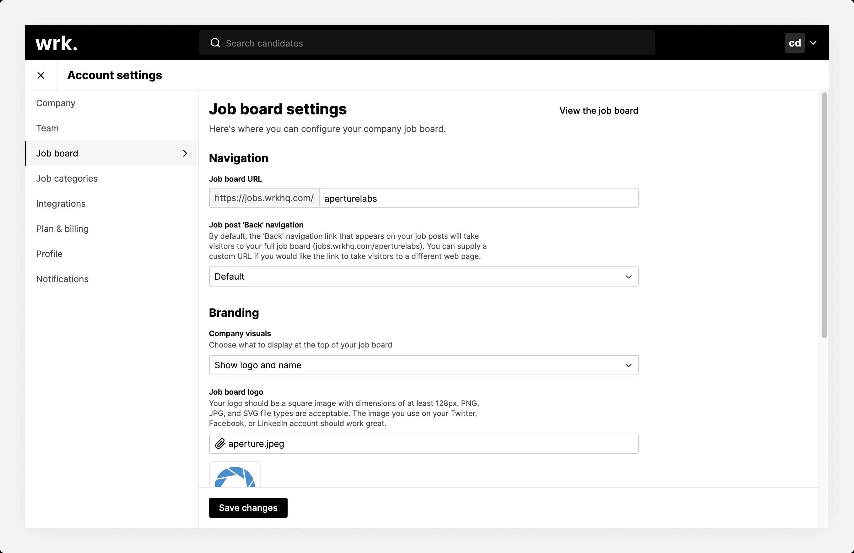 The Job board settings screen in Wrk