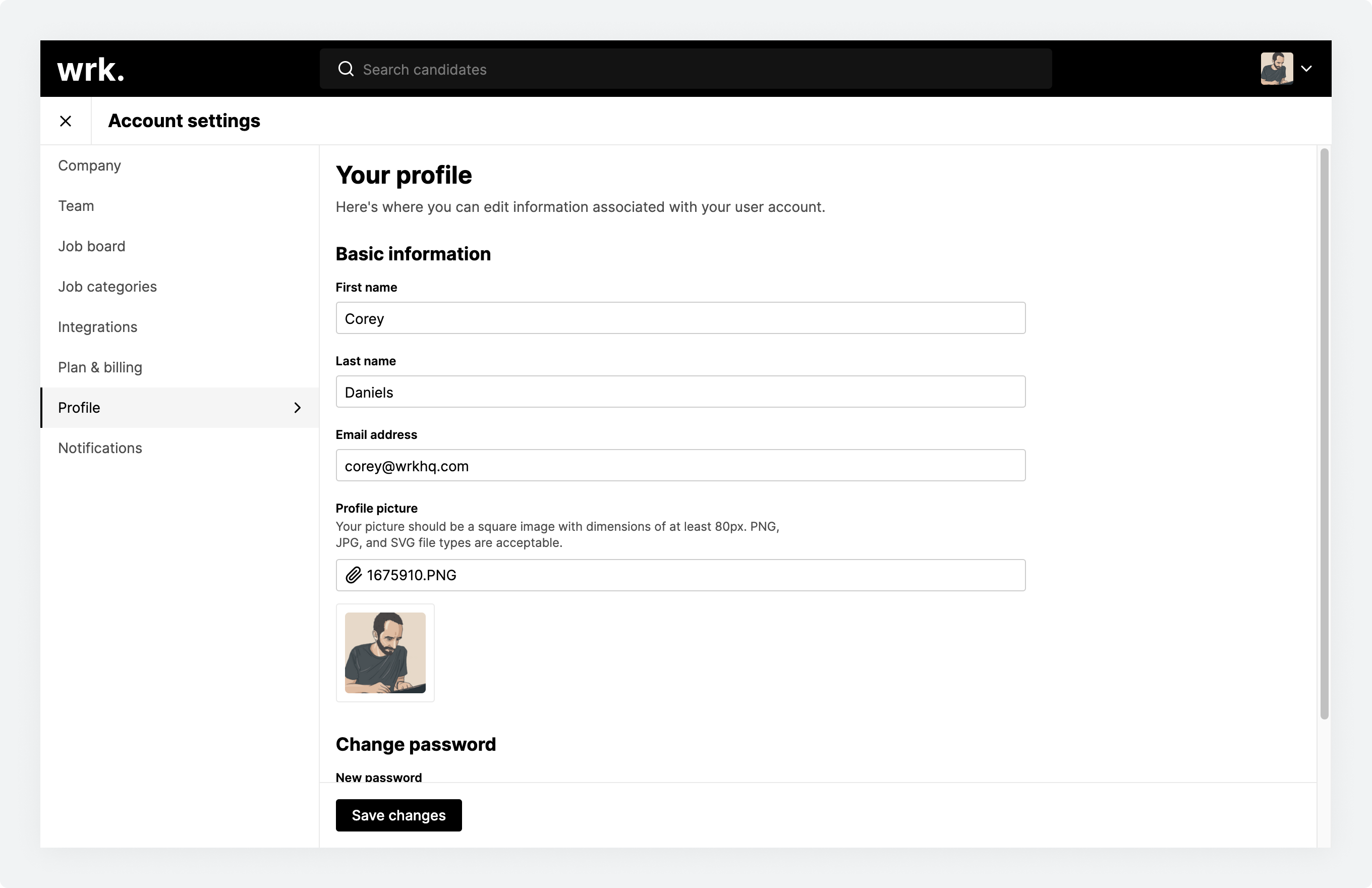 The Your profile screen in Wrk