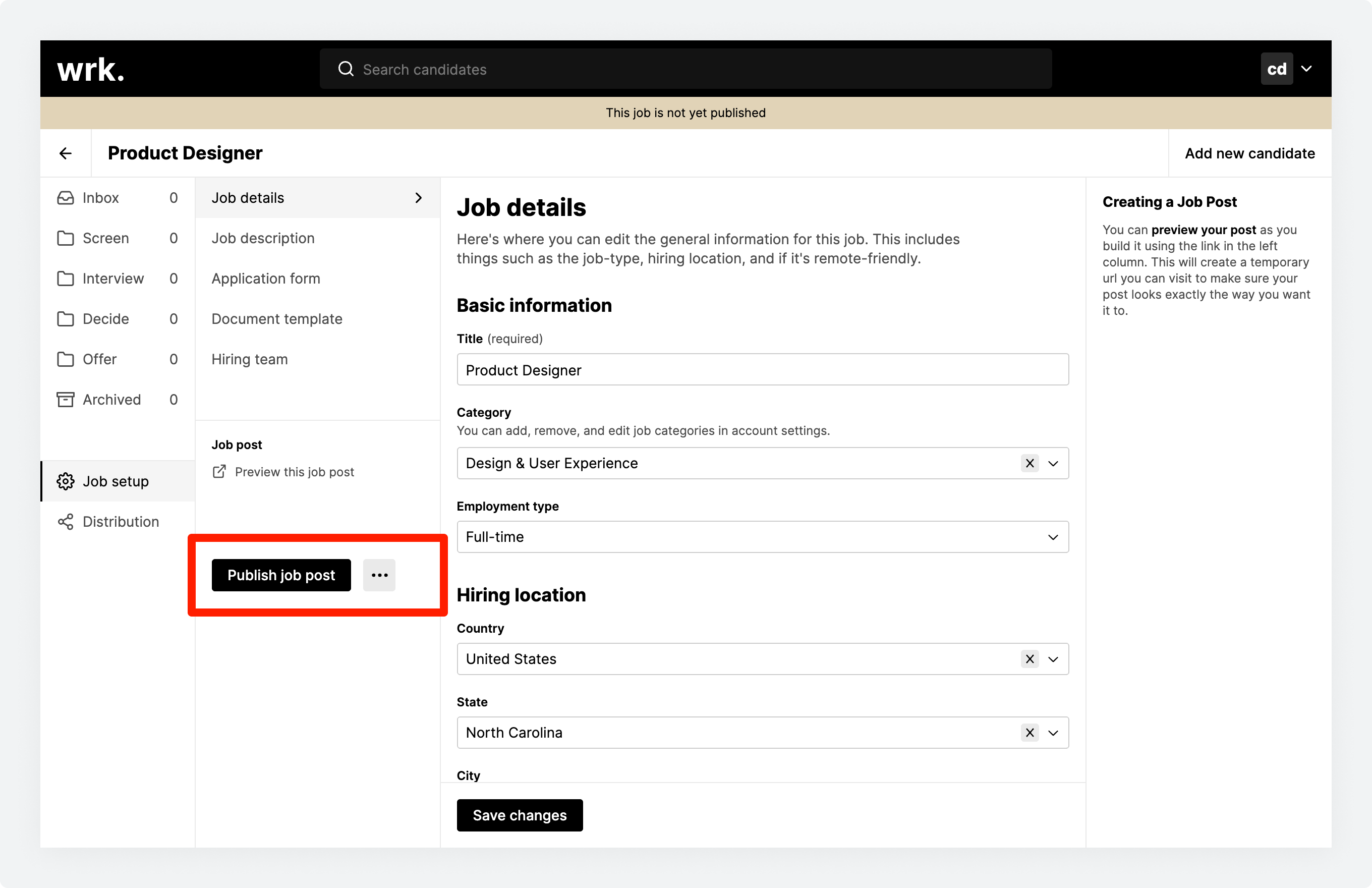 The Job setup section in Wrk with a job ready for publishing