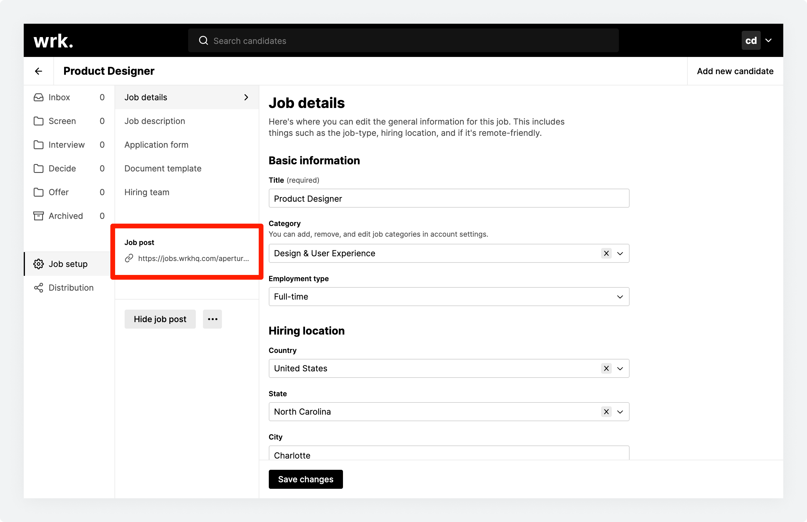 The Job setup screen in Wrk with a newly-published job