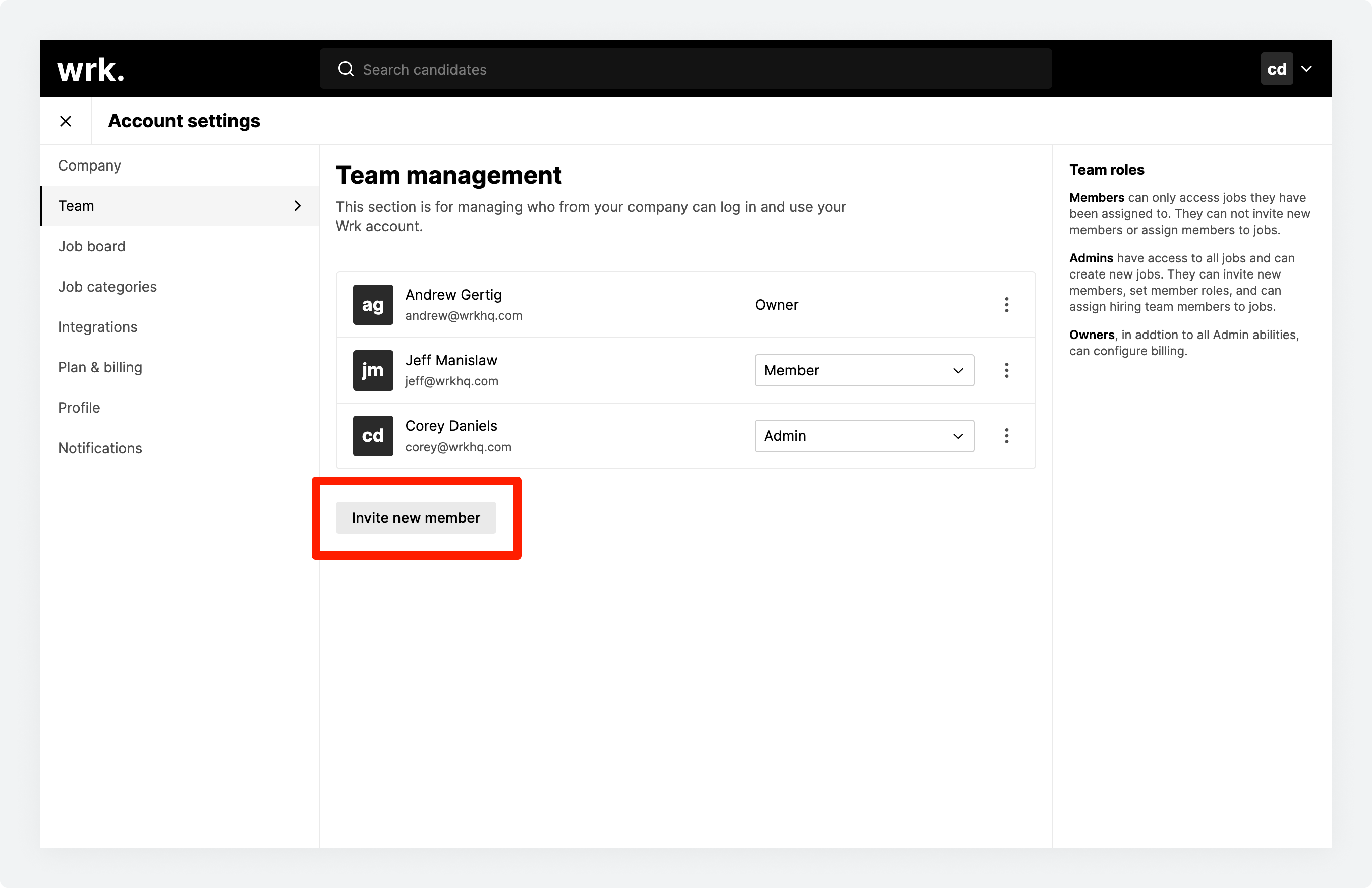 The Team management screen in Wrk with the Invite new team member button highlighted